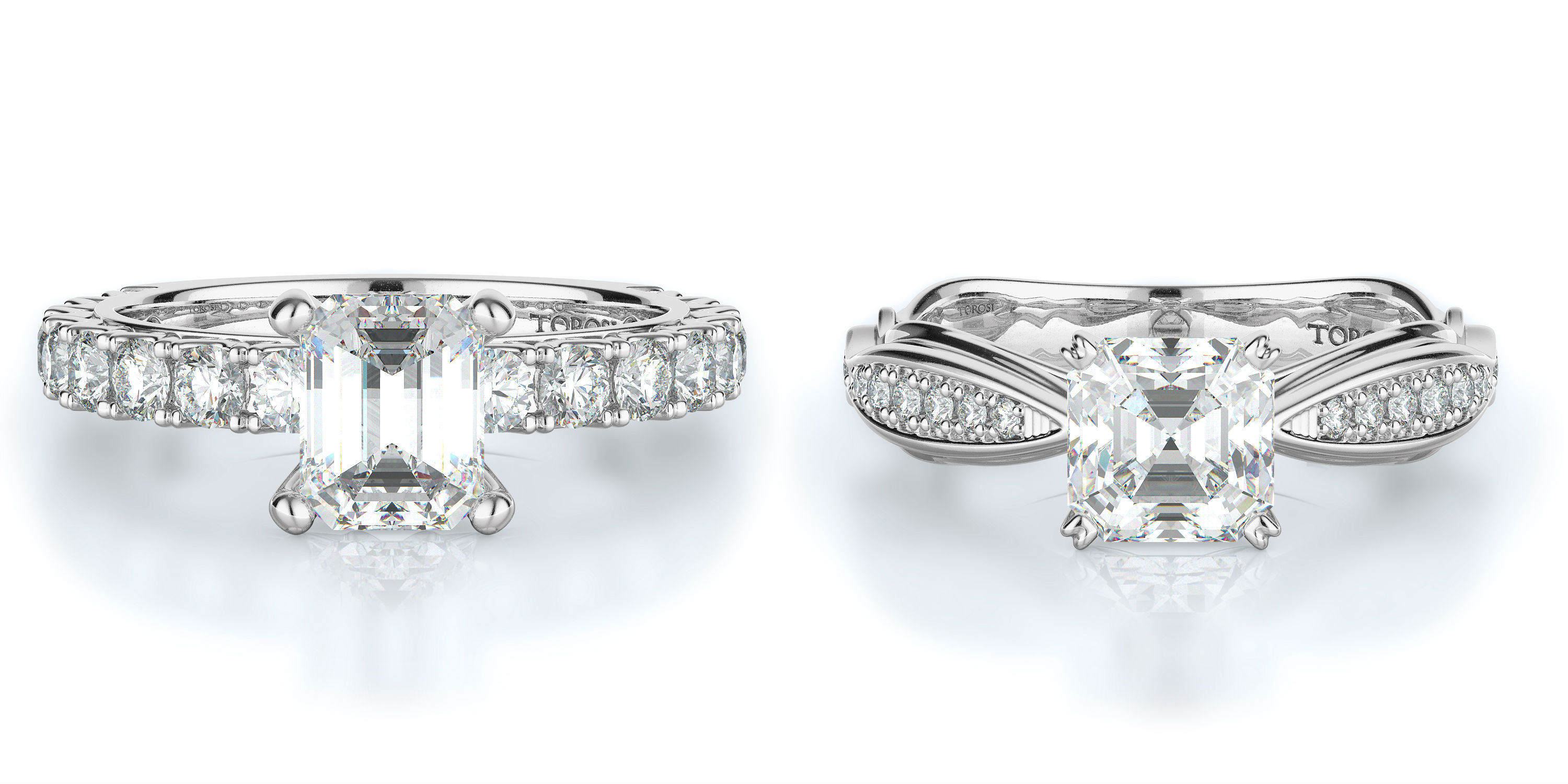 Asscher Cut Engagement Rings Torosi
