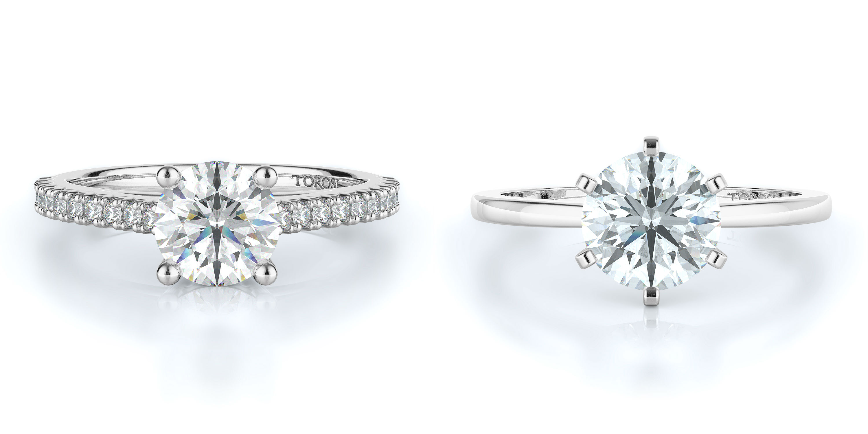 Round Cut Engagement Rings at Torosi