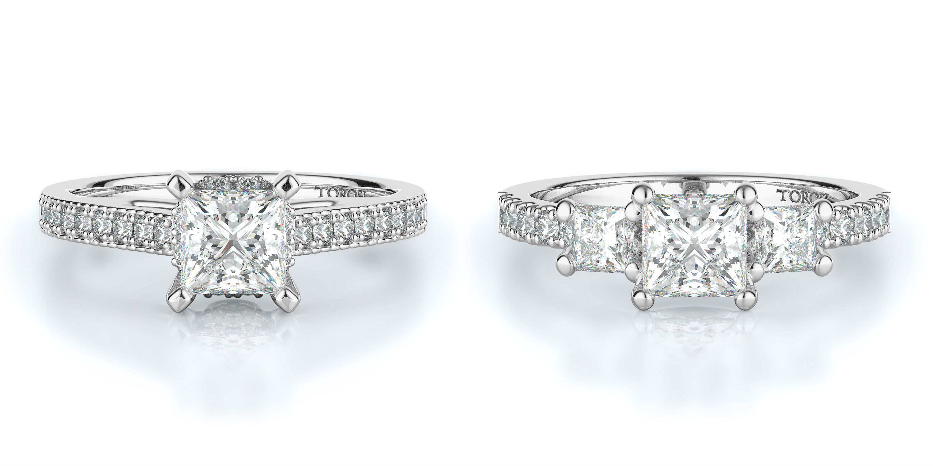 Princess Cut Engagement Rings at Torosi