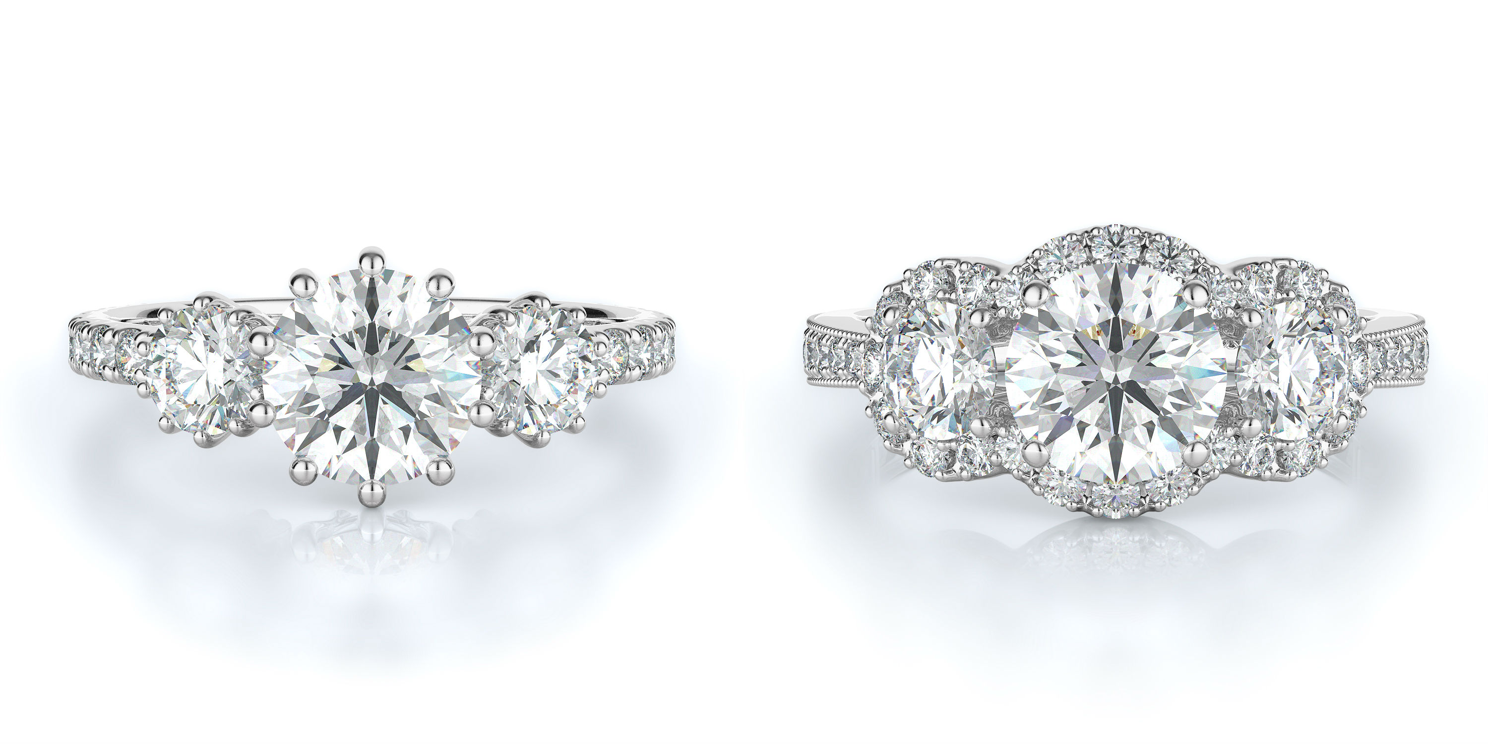 Three-Stone Engagement Rings at Torosi