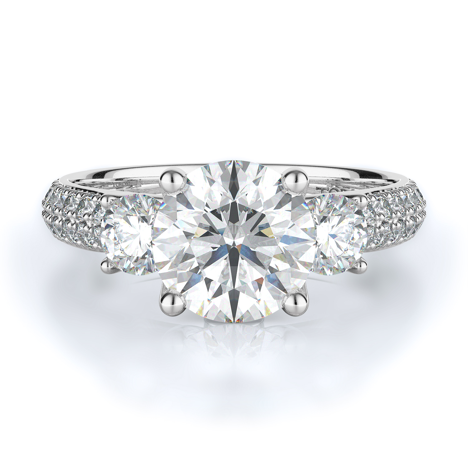 Three stone Style Diamond Engagement ring  (Center Diamond Not Included) product image