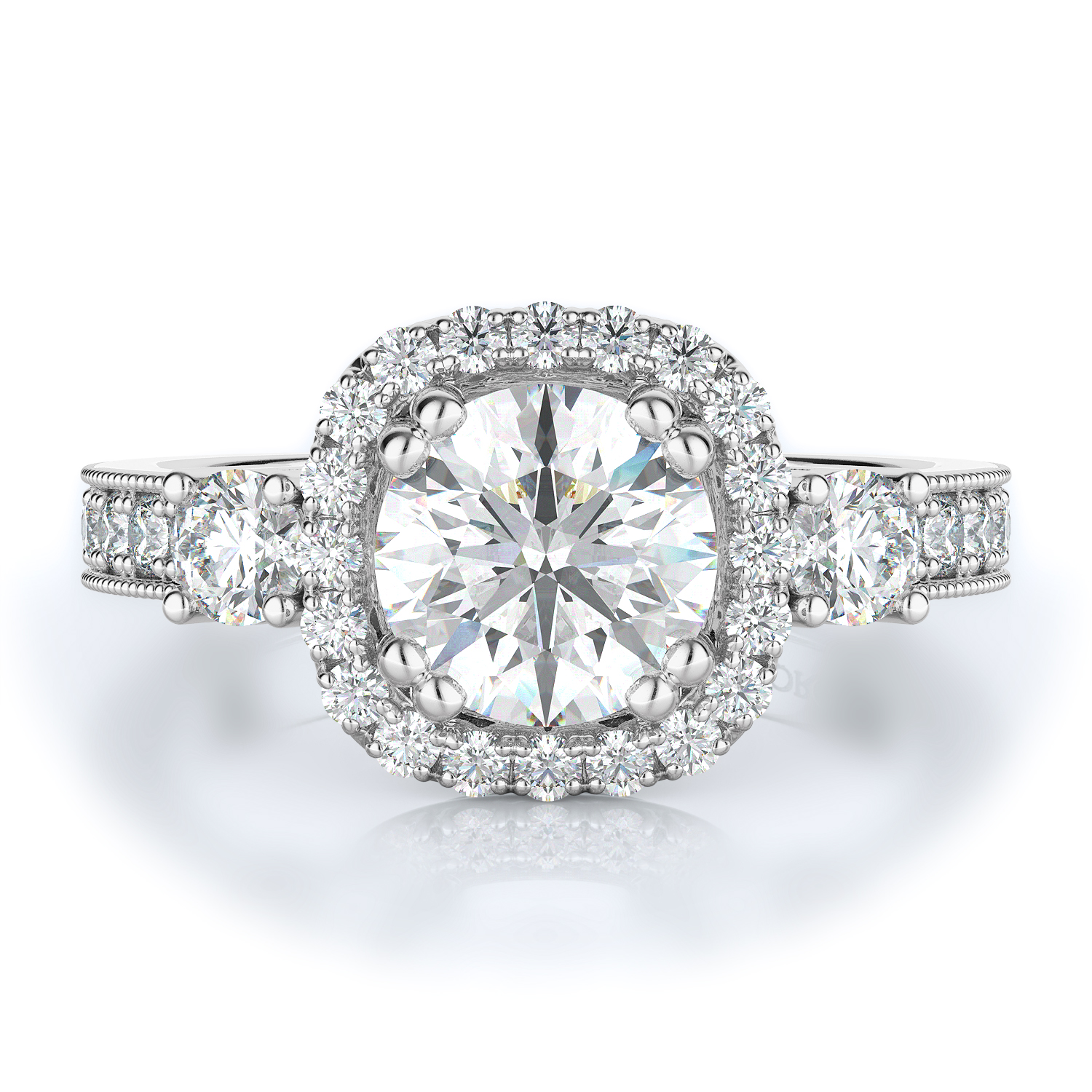 Three stone, Halo Style Diamond Engagement ring 