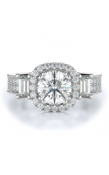 Halo, Three stone Style Diamond Engagement ring 